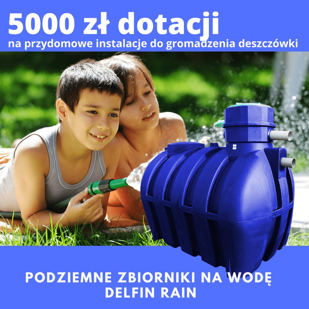 5000 zł dofinansowania do systemów zbierania deszczówki.